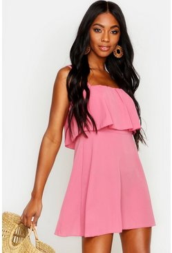 Womens Coral Strappy Double Layer Beach Sundress