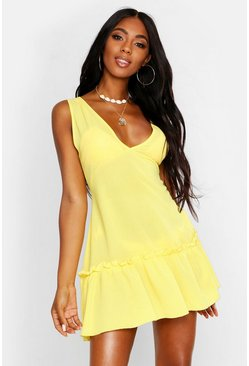 Womens Yellow Tiered Woven Smock Beach Dress