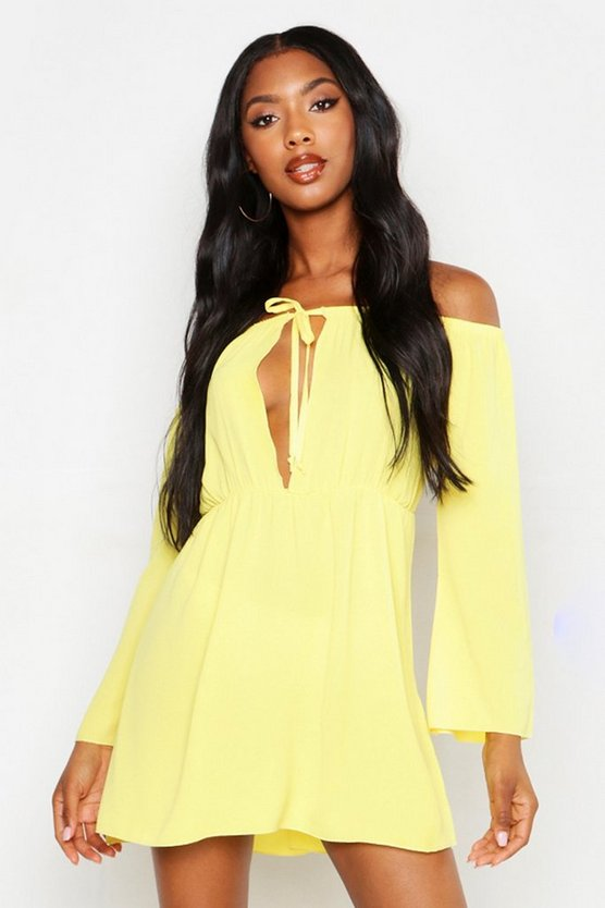 Womens Yellow Off The Shoulder Boho Beach Dress