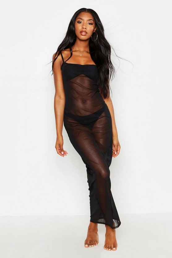 Womens Black Scoop Neck Mesh Maxi Dress