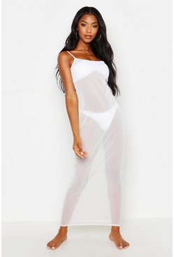 Womens White Scoop Neck Mesh Maxi Dress