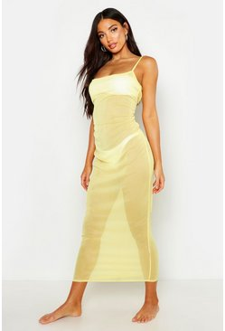Womens Yellow Scoop Neck Mesh Maxi Dress