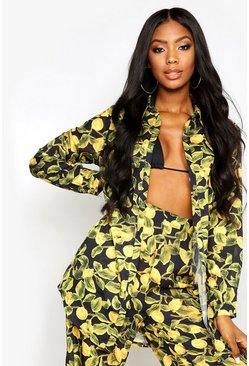 Womens Black Lemon Print Beach Shirt