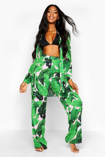 Womens Green Palm Print Beach Trousers