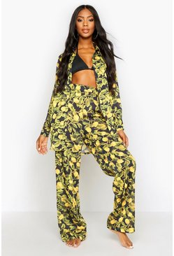 Womens Black Lemon Print Beach Trousers