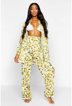 Womens Yellow Lemon Print Beach Trousers