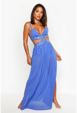 Womens Blue Jewelled Maxi Beach Dress