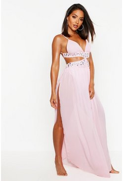 Womens Pink Jewelled Maxi Beach Dress