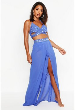 Womens Blue Jewelled Beach Co-Ord