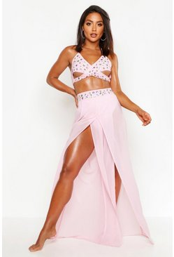 Womens Pink Jewelled Beach Co-Ord