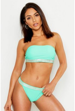 Womens Green Diamante Detail Bandeau High Leg Bikini