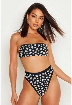Black Diamante Bandeau High Waist Bikini