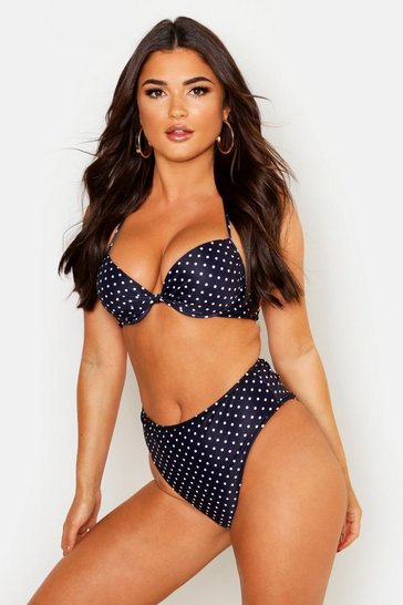 Womens Black Mix & Match Polka Dot Underwired Bikini Top