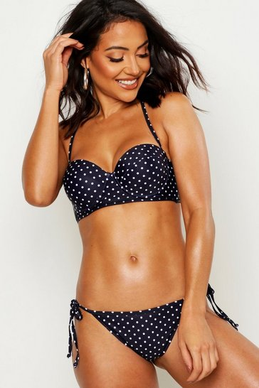 Womens Black Mix & Match Polka Dot Tie Side Brief