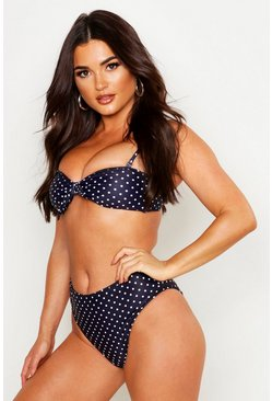 Womens Black Polka Dot Knot Front High Waist Bikini