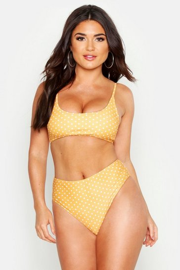 Womens Mustard Polka Dot Cropped High Leg Bikini