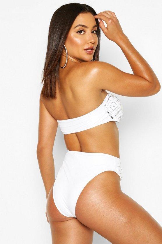 Embellished Sequin Bandeau High Waist Bikini