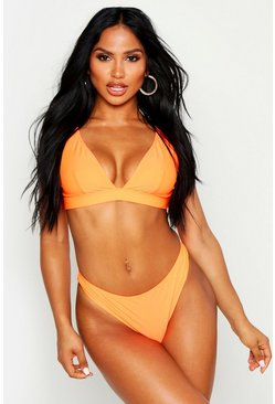 Womens Neon-orange Mix & Match Fuller Bust Triangle Neon Bikini Top
