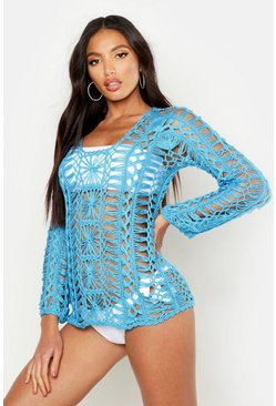 Womens Blue Crochet Long Sleeve Beach Cover Up