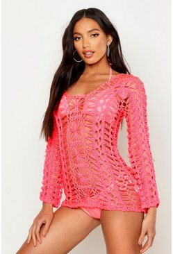 Womens Neon-coral Crochet Long Sleeve Beach Cover Up