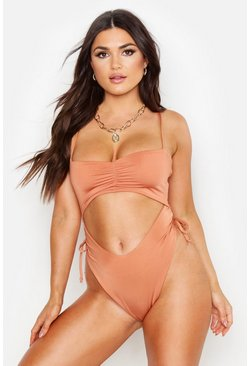 Toffee Ruched Front Cutout Swimsuit