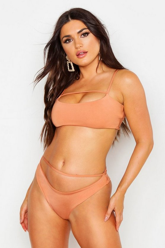 Womens Toffee Cropped High Leg Bikini