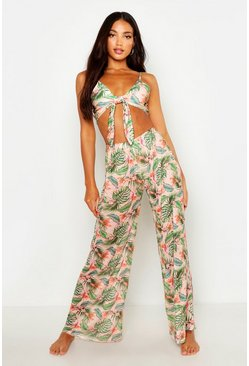 Womens Peach Tropical Beach Pants