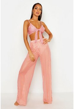 Womens Orange Pinstripe Beach Pants