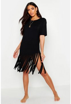 Womens Black Tassel Beach Dress
