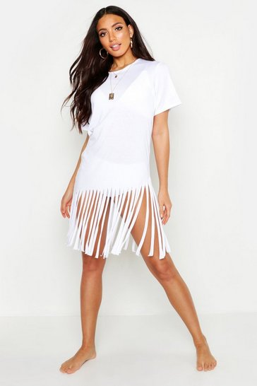 Womens White Tassel Beach Dress