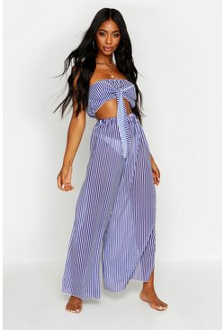 Blue Bandeau Tie Front Beach Co-ord