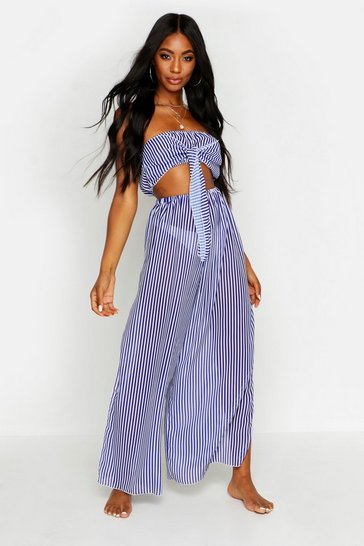 Womens Blue Bandeau Tie Front Beach Co-ord