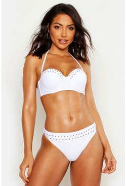 Womens White Mix & Match Studded Underwired Bikini Top