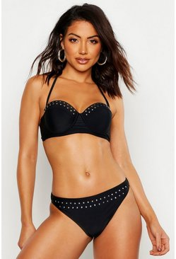 Womens Black Mix & Match Star Studded Fixed Brief