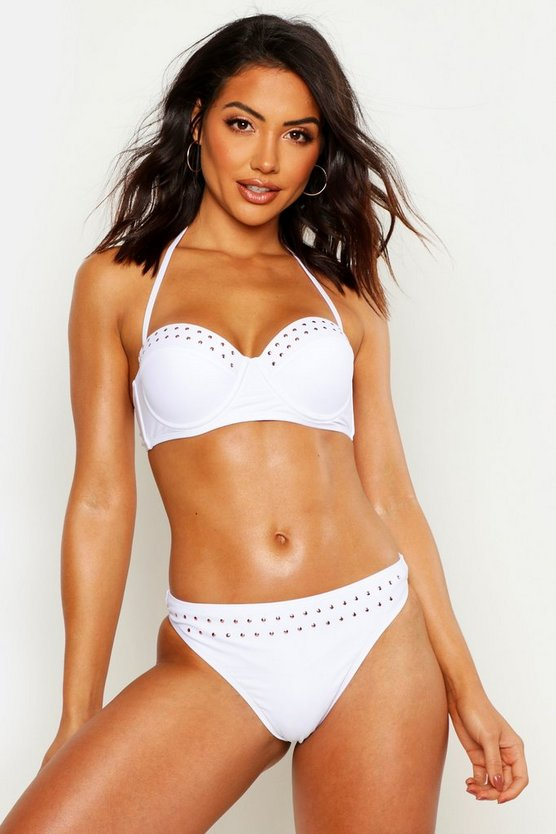 Womens White Mix & Match Studded Fixed Brief