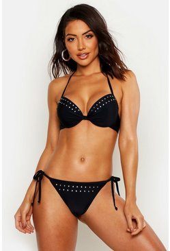 Womens Black Mix & Match Star Studded Push Up Underwired Top