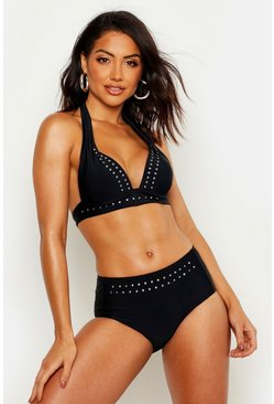 Womens Black Mix & Match Star Studded Push Up Plunge Bikini Top