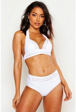 Womens White Mix & Match Studded Push Up Plunge Bikini Top