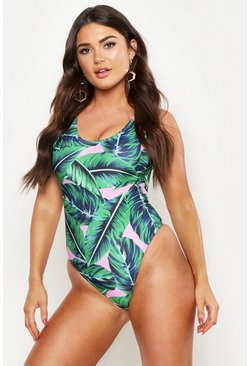 Womens Pink Tropical Leaf Scoop Swimsuit