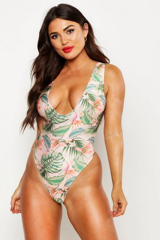 Womens Peach Tropical Floral High Leg Swimsuit