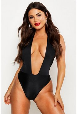 Womens Black Halterneck Plunge Swimsuit