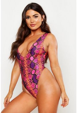 Womens Pink Snake High Leg Swimsuit