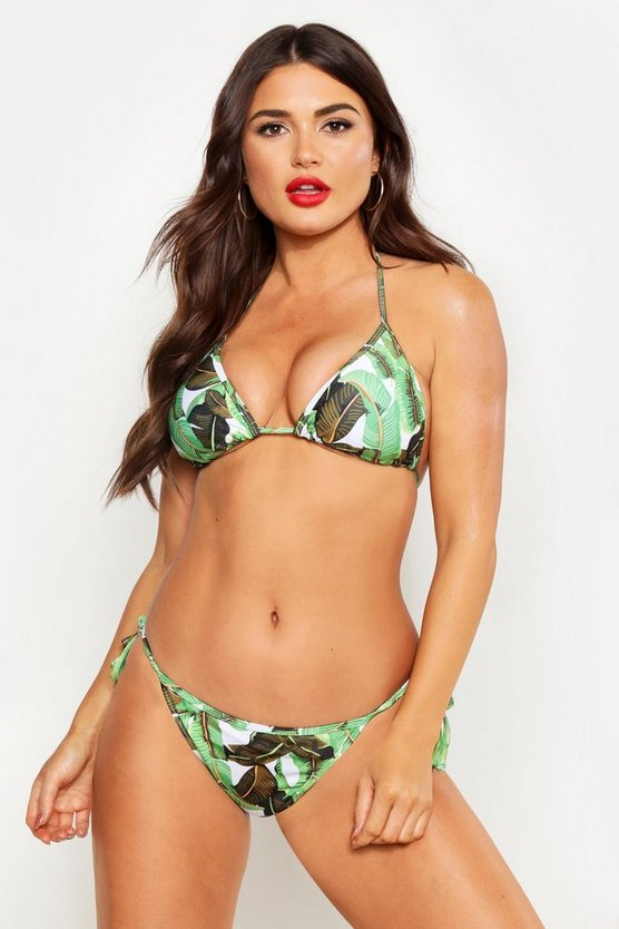 Womens Green Leaf Triangle Bikini