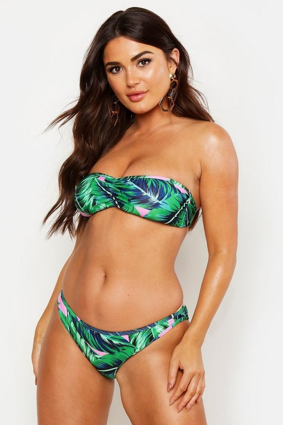 Womens Pink Tropical Leaf Bandeau Bikini