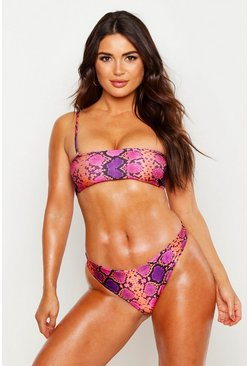 Womens Pink Snake One Shoulder Crop Bikini