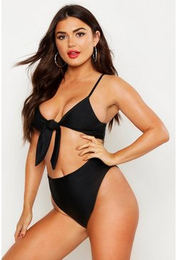 Womens Black Tie Front High Waist Bikini