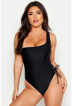 Black Asymmetric Lace Up Swimsuit