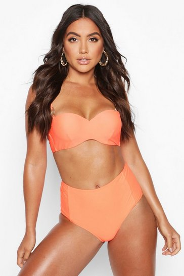 Womens Neon-orange Mix & Match Neon High Waist Brief