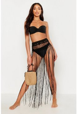 Womens Black Crochet Tassle  Beach Skirt