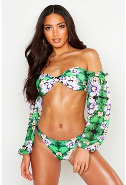 Womens Green Chiffon Balloon Sleeve Bikini